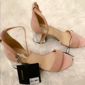 🌸NEW FOREVER 21 NUDE OPEN TOE WEDGE HEEL W TAGS🌸